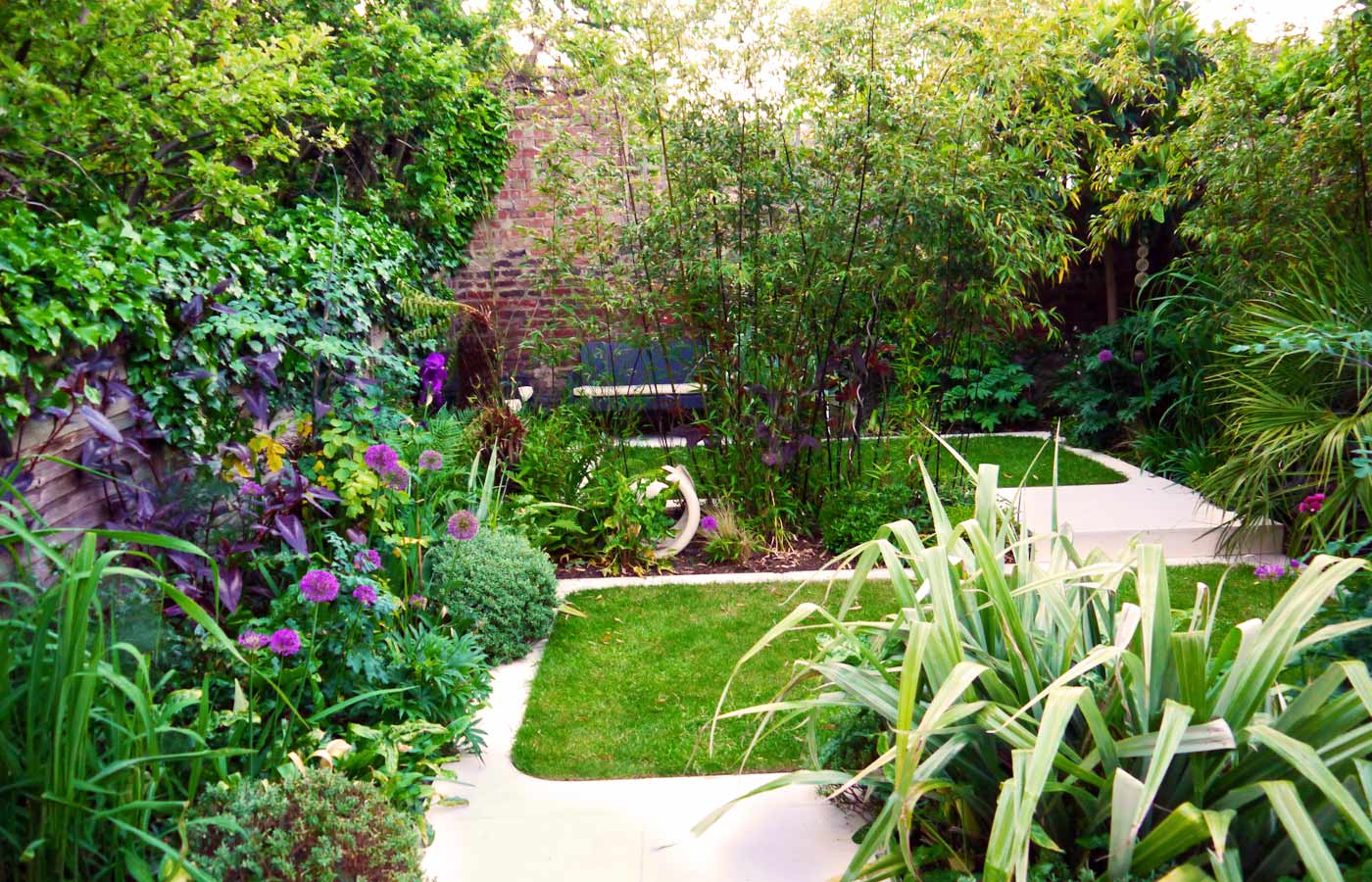 Ceramic Garden Feature Modern Town Garden With Limestone Paving And  Evergreen Planting ...