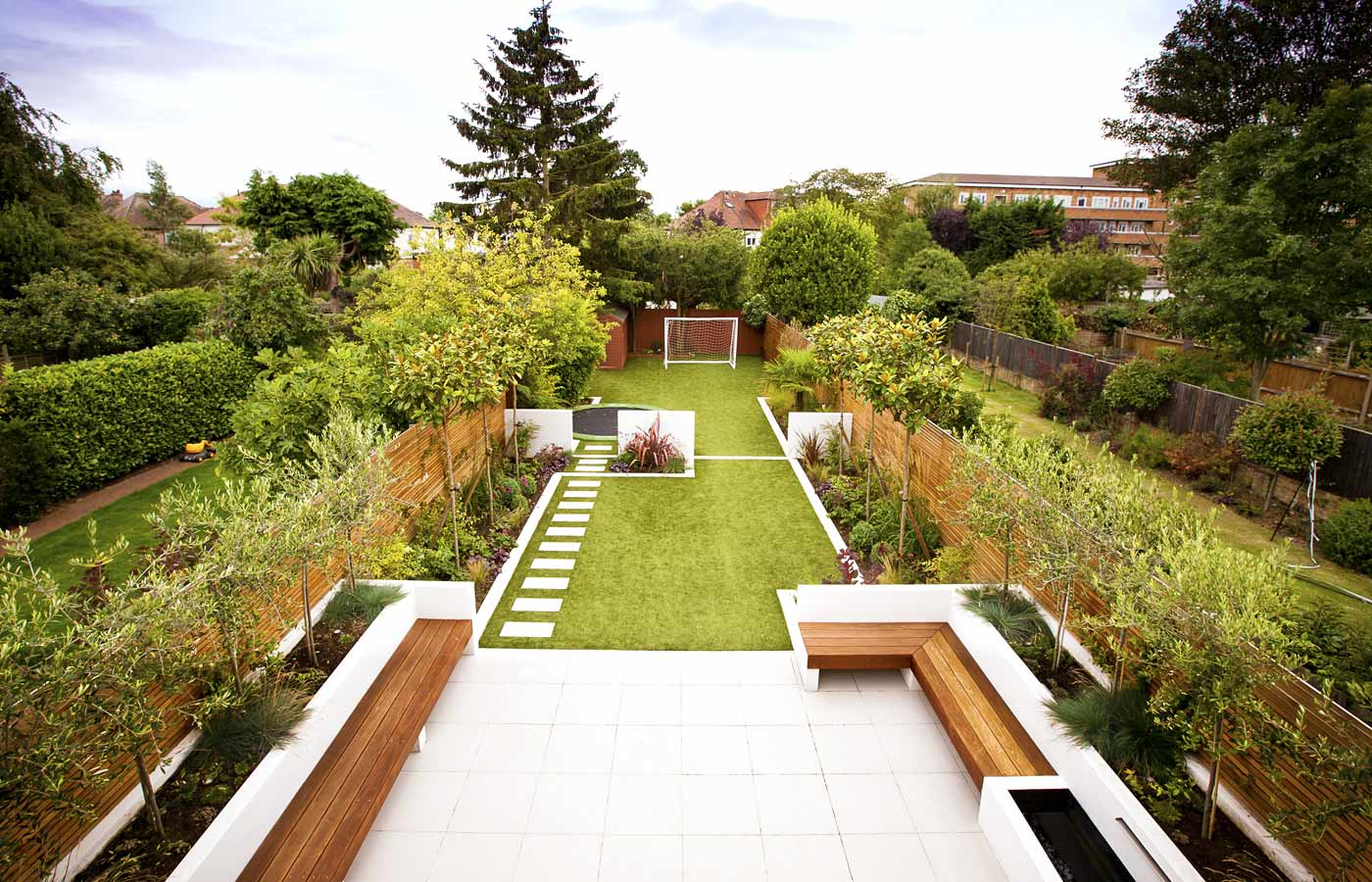 Modern Garden Ideas Uk long thin garden design | family garden design