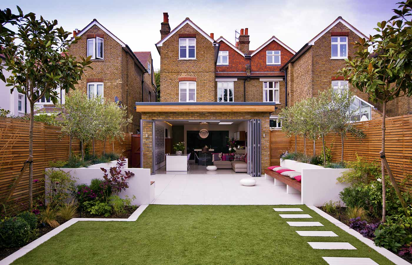 View from the lawn of the terrace and house in Twickenham, West London