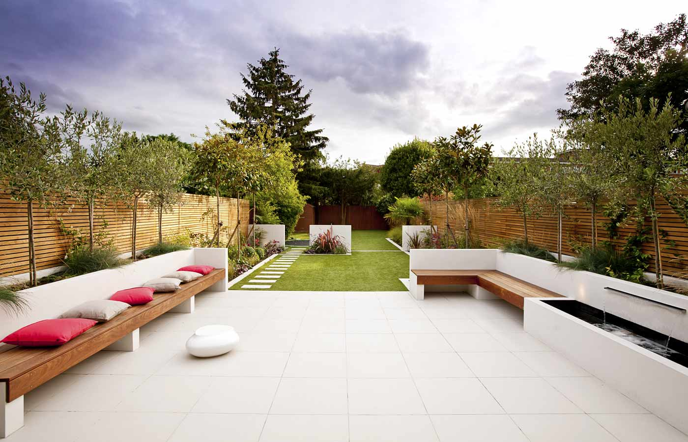Long thin garden design family garden design for Outside garden design
