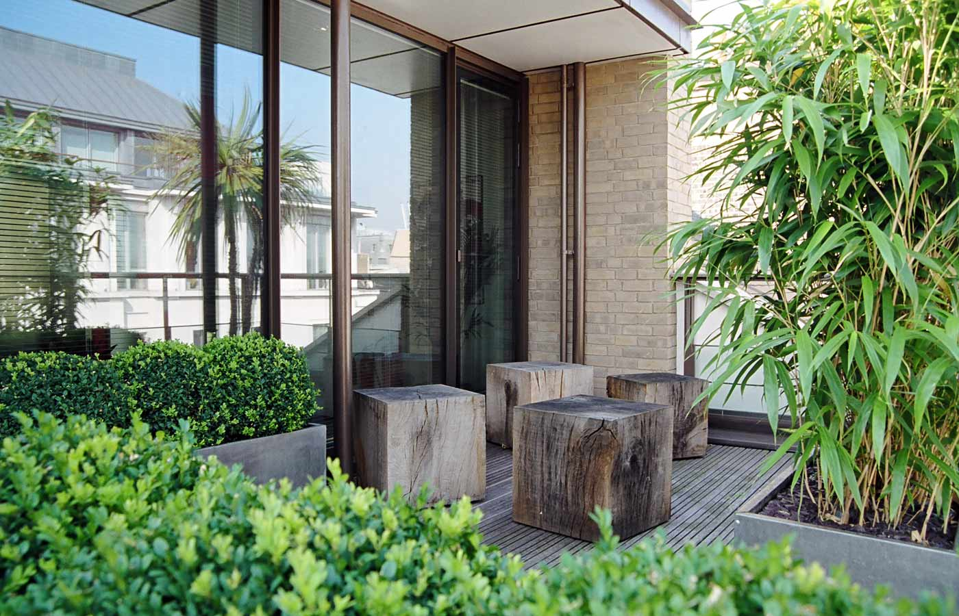 roof garden seating area with green oak cubes