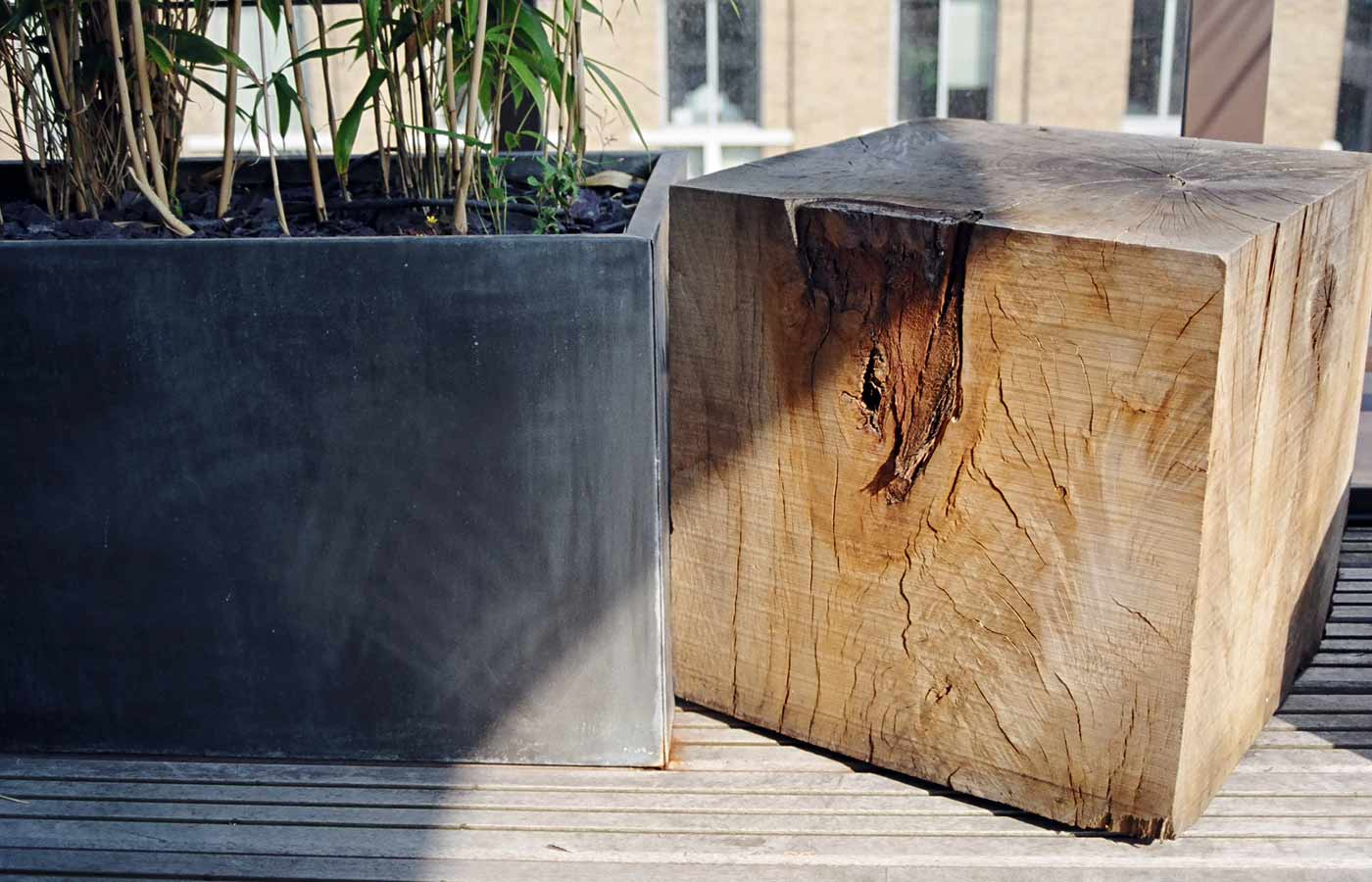 Wooden cubes and planters on roof garden