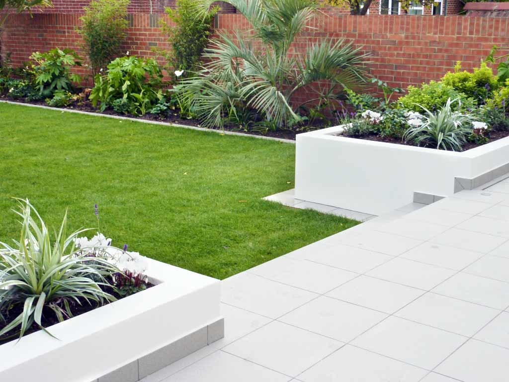 Garden design contemporary style rendered walls and raised beds